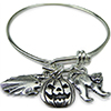 Halloween Charm Bangle Bracelet, Scary Cat,Jack o'lantern & Ghost