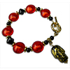 Halloween Orange and Black Venetian Bead Bracelet 7 3/4 Inches