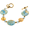 Aqua and Gold Zanfirico Daisy Bracelet
