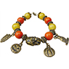 Halloween Owls, Ghosts & Pumpking Orange and Yellow Venetian Bead Bracelet