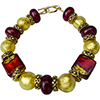 Red and Exterior Gold Foil Murano Glass Bracelet, 7 Inches
