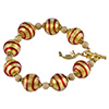 Red and Gold Tigrato Stripes Murano Glass Bracelet