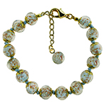 Pale Aqua Aventurina Bracelet 7.5 Inch  with 1 1/4 Inch Extender, Gold Tone Clasp Authentic Murano Glass Beaded