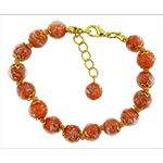 Orange Aventurina Bracelet 7.5 Inch  with 1 1/4 Inch Extender, Gold Tone Clasp Authentic Murano Glass Beaded