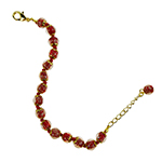 Red Aventurina Bracelet 7.5 Inch  with 1 1/4 Inch Extender, Gold Tone Clasp Authentic Murano Glass Beaded