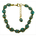 Aqua Green Aventurina Bracelet 7.5 Inch  with 1 1/4 Inch Extender, Gold Tone Clasp Authentic Murano Glass Beaded
