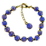 Lapis Blue Aventurina Bracelet 7.5 Inch  with 1 1/4 Inch Extender, Gold Tone Clasp Authentic Murano Glass Beaded