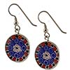 Red/Blue Black Center 18mm Earrings Sterling