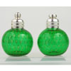 Emerald and Gold Venetian Glass Salt and Pepper Shakers