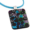 Acqua/Purple Circles Rect Millefiori Pendant Necklace 18Inch