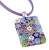 Wildflower Rectangle Millefiori Pendant Necklace 18 Inch