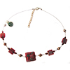 Red Gold Foil Fiorato Square Wire Necklace 16 Inch with Extension