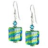 Spiraled Cube Earrings - Green and Blue over Silver