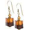 Bicolor Cube Earrings - Topaz and Amethyst over Gold