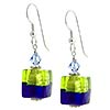 Bicolor Cube Earrings - Green and Cobalt over Silver
