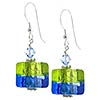 Bicolor Cube Earrings - Green and Blue over Silver