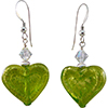 Double Heart Peridot on White Gold Foil Murano Glass Earrings with Sterling Silver Earwires