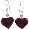 Double Heart Amethyst, Purple on White Gold Foil Murano Glass Earrings with Sterling Silver Earwires