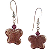 Amethyst Butterfly Earrings with Sterling Silver EarWires and Swarovski Crystals