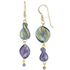 Murano Glass Twist 24kt Gold Foil Beads Plum and Blue Earrings with Gold Fill Earwire