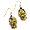 Skull Earrings, Murano Glass Ca'd'oro Black with Gold Foil and Swarovski Briolette