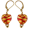 Red ZigZag Gold Foil Heart Earrings