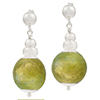 Silver Dangle Earrings with Light Olivine 24kt Gold Foil Murano Glass Bead