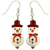 Red Hat White Snowman Earrings Sterling Silver