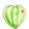 Authentic Murano Glass Green Striped 24kt Gold Foil Heart Ornament Murano Glass