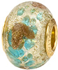 PerlaVita Aqua Splashes Murano Glass Rondel Bead 5mm Hole, Vermeil