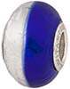 PerlaVita Bi-Color Murano Glass Rondel Cobalt & Silver 5mm Hole, Sterling