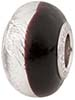 PerlaVita Bi-Color Murano Glass Rondel Black & Silver, 5mm Hole, Sterling