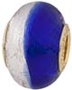 PerlaVita Bi-Color Murano Glass Rondel Cobalt & Silver, 5mm Hole, Vermeil