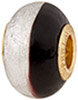 PerlaVita Bi-Color Murano Glass Rondel Black & Silver, 5mm Hole, Vermeil