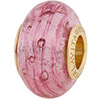 PerlaVita Crystal Bubbles Murano Glass Pink & Silver, 5mm Hole, Vermeil