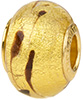 PerlaVita LaCrima Murano Glass Rondel, Crystal & Gold, 5mm Hole, Sterling