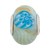 PerlaVita Zanmil Murano Glass Rondel, Aqua & Gold, 5mm Hole, Sterling