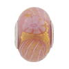 PerlaVita Zanmil Murano Glass Rondel, Opaque Pink & Gold, 5mm Hole, Sterling