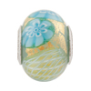 PerlaVita Zanmil Murano Glass Rondel, Opaque Aqua & Gold, 5mm Hole, Sterling