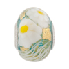 PerlaVita Zanmil Murano Glass Rondel, Transparent Aqua & Gold 5mm Hole, Sterling