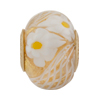 PerlaVita Zanmil Murano Glass Rondel, Gold & White, 5mm Hole Vermeil