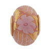 PerlaVita Zanmil Murano Glass Rondel, Opaque Pink & Gold, 5mm Hole, Vermeil
