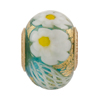 PerlaVita Zanmil Murano Glass Rondel, Transparent Aqua & Gold 5mm Hole, Vermeil