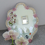 Murano Pink Flowers Venetian Glass Mirror Standing or Hanging
