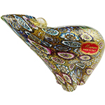 Millefiori Murano Glass Bear with 24kt Gold Foil Sculpture