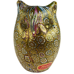 Millefiori Murano Glass Owl with 24kt Gold Foil Sculpture