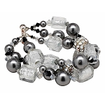 Smoke and Ice 3 Strand Murano Glass and Crystal Bling Bracelet