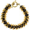 Black  Rondel and Topaz Rings Venetian Glass Bracelet  7 1/2 Inches