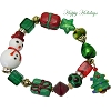 Murano Glass Lampwork Christmas Tree and Snowman Stretch Bracelet