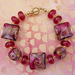 MARE Amethyst and Pink Murano Glass Beads Bracelet 7.5 Inches Gold Fill